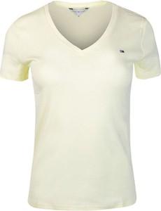 T-shirt Tommy Hilfiger z dekoltem w kształcie litery v w stylu casual z krótkim rękawem