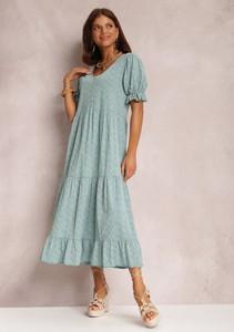 Miętowa sukienka Renee z dekoltem w kształcie litery v maxi z krótkim rękawem