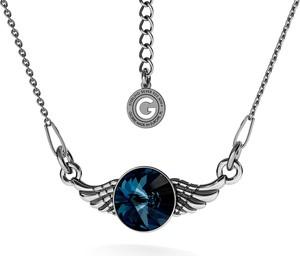 GIORRE SREBRNY NASZYJNIK SKRZYDŁA SWAROVSKI RIVOLI 925 : Kolor kryształu SWAROVSKI - Denim Blue, Kolor pokrycia srebra - Pokrycie Czarnym Rodem