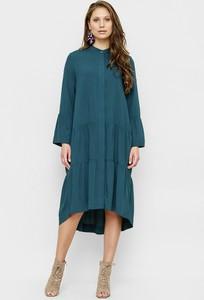 Sukienka Freeshion z długim rękawem midi z okrągłym dekoltem