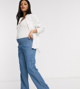 Mama Licious Mamalicious Maternity — Niebieskie jaensowe spodnie z szerokimi nogawkami