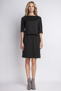 Czarna sukienka Lanti midi z okrągłym dekoltem