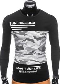 Czarna koszulka z długim rękawem ombre clothing w militarnym stylu z długim rękawem