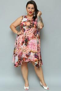 Różowa sukienka KARKO midi asymetryczna