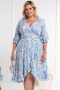 Niebieska sukienka KARKO z dekoltem w kształcie litery v z tkaniny