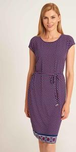 Fioletowa sukienka QUIOSQUE mini z krótkim rękawem