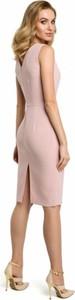 Różowa sukienka MOE ołówkowa z wełny