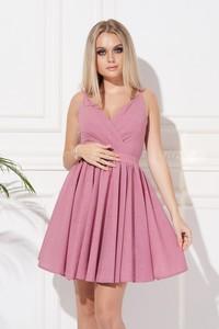 Różowa sukienka Ella Boutique bez rękawów z dekoltem w kształcie litery v