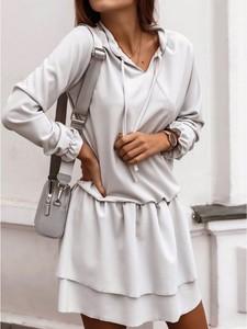 Sukienka magmac.pl z bawełny w stylu casual z długim rękawem