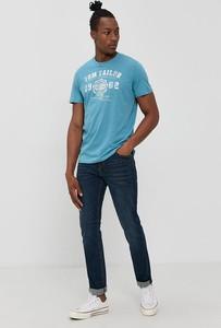 Niebieski t-shirt Tom Tailor z dzianiny w młodzieżowym stylu z krótkim rękawem