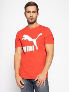 Czerwony t-shirt Puma z krótkim rękawem