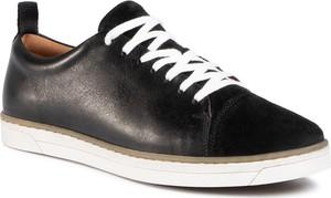Czarne buty sportowe Gino Rossi sznurowane ze skóry