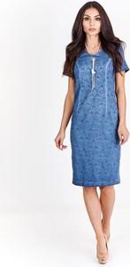 Niebieska sukienka Fokus w młodzieżowym stylu z okrągłym dekoltem z krótkim rękawem