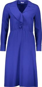 Niebieska sukienka Cacharel z długim rękawem z dekoltem w kształcie litery v