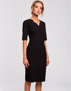 Czarna sukienka MOE z dekoltem w kształcie litery v