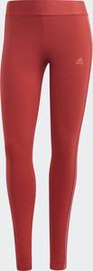 Czerwone legginsy Adidas z bawełny