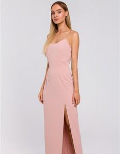 Różowa sukienka MOE z tkaniny maxi