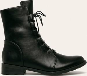 Czarne botki Answear sznurowane z płaską podeszwą