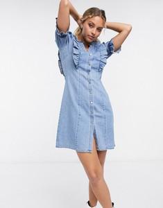 Niebieska sukienka Object z jeansu mini