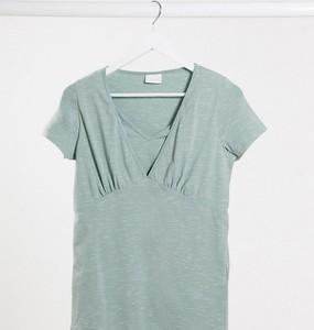Zielony t-shirt Mama Licious z krótkim rękawem
