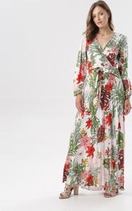 Sukienka born2be z długim rękawem maxi z dekoltem w kształcie litery v