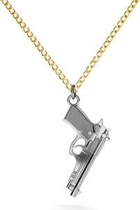 GIORRE Srebrny naszyjnik pistolet duża beretta 925 : Długość (cm) - 60, Kolor pokrycia srebra - Pokrycie Czarnym Rodem / Żółtym 24K Złotem