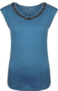 Niebieska bluzka Fracomina Bluzka bez rękawów w stylu casual