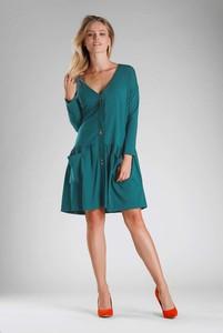 Niebieska sukienka Nommo z długim rękawem mini