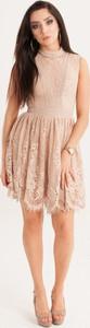 Różowa sukienka Butik Ecru mini bez rękawów