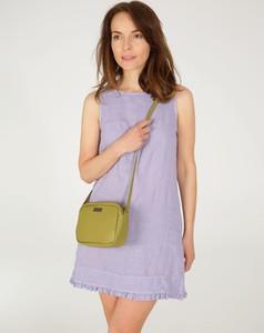Fioletowa sukienka Unisono z okrągłym dekoltem z lnu