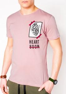 Różowy t-shirt Edoti z krótkim rękawem z nadrukiem