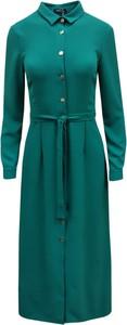 Zielona sukienka Trynite maxi z kołnierzykiem