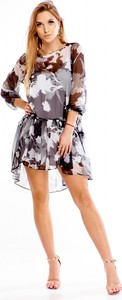 Sukienka Norbi z okrągłym dekoltem z długim rękawem asymetryczna