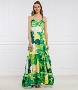 Zielona sukienka Guess na ramiączkach z dekoltem w kształcie litery v maxi