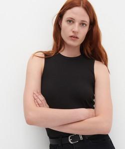Czarna bluzka Reserved w stylu casual z bawełny z okrągłym dekoltem