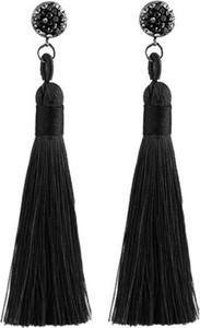 Cloe Kolczyki długie frędzle z cyrkonią czarne