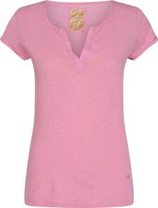 Różowy t-shirt Mos Mosh z krótkim rękawem w stylu casual z dekoltem w kształcie litery v