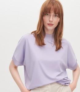 Fioletowa bluzka Reserved z krótkim rękawem z okrągłym dekoltem