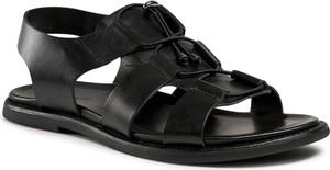 Czarne buty letnie męskie Gino Rossi z klamrami