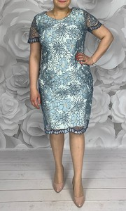Sukienka Dorota z okrągłym dekoltem z krótkim rękawem midi