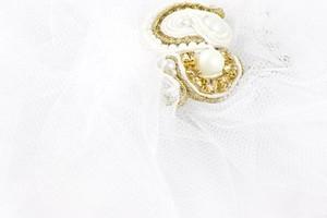 Ludożerna STROIK do włosów SUTASZ biały ŚLUBNY złoto