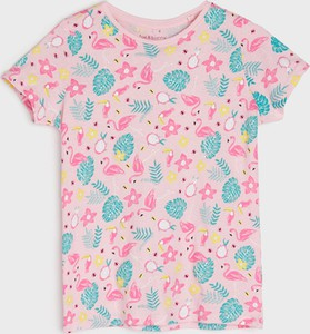 Różowa bluzka dziecięca Sinsay dla dziewczynek z krótkim rękawem z bawełny