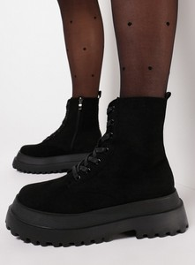 Czarne botki born2be w stylu casual sznurowane