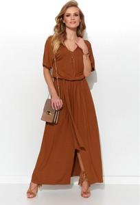 Brązowa sukienka Numinou z dekoltem w kształcie litery v maxi