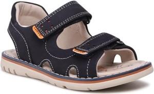 Granatowe buty dziecięce letnie Lasocki Kids na rzepy ze skóry