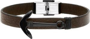 Manoki BA598BK skórzana bransoletka męska z czarną kotwicą, ciemny brąz