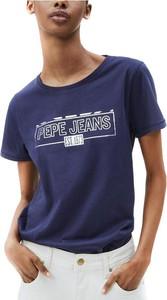 Niebieski t-shirt Pepe Jeans z bawełny z okrągłym dekoltem w młodzieżowym stylu