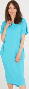 Sukienka Unisono z bawełny z krótkim rękawem z dekoltem w kształcie litery v