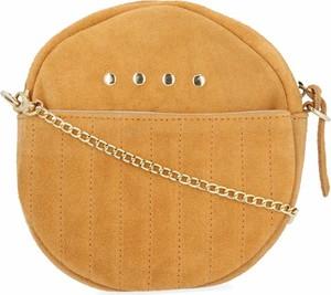Żółta torebka VITTORIA GOTTI na ramię zamszowa z aplikacjami