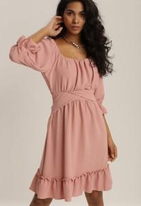 Różowa sukienka Renee mini z okrągłym dekoltem
